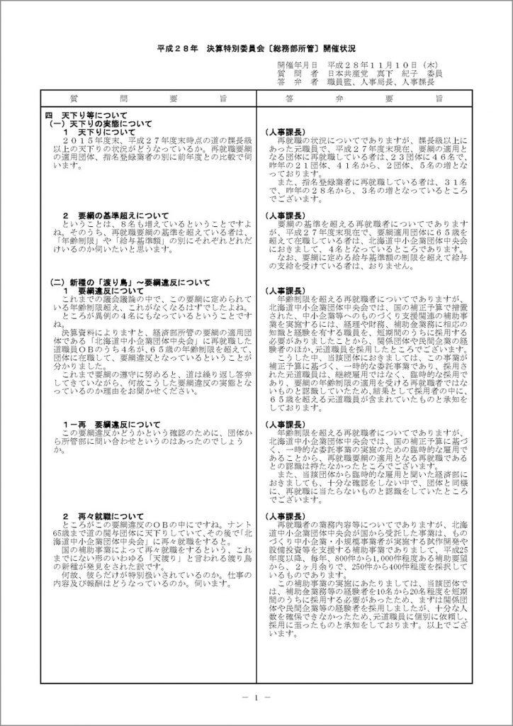 1_20161110真下議員決特(総務部・天下り)_ページ_1